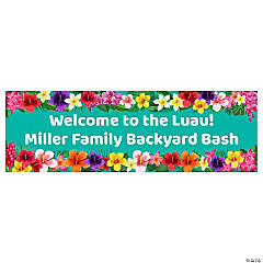 Multicolor Hibiscus Luau Custom Banner - Medium