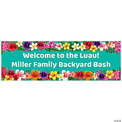 Multicolor Hibiscus Luau Custom Banner - Small