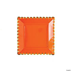My Mind's Eye™ Orange Solid Scalloped Dinner Plates