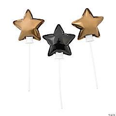 Mylar Self-Inflating Black & Gold Star Mylar Balloons