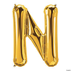 N Gold Letter Mylar Balloon