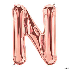 N Rose Gold Letter Mylar Balloon