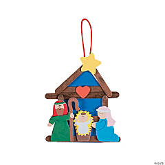 nativity craft stick religious christmas ornament craft kit - Religious Christmas Decorations To Make