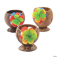 Natural Coconut Cups with Polyester Flowers