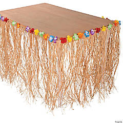 Natural Raffia Flowered Table Skirts