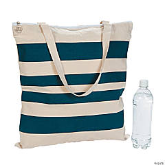 Nautical Stripe Tote with Anchor Charm