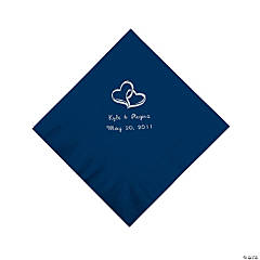 NAVY 2-HEARTS LUNCH NAPKINS (50PC) (P)