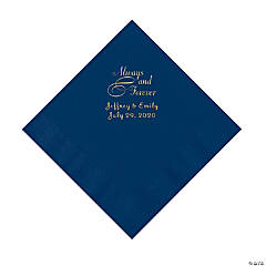 Navy Always & Forever Personalized Napkins with Gold Foil - Luncheon