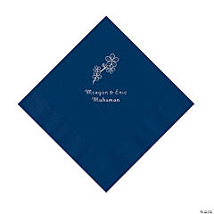 Navy Blossom Branch Personalized Napkins with Silver Foil - Luncheon