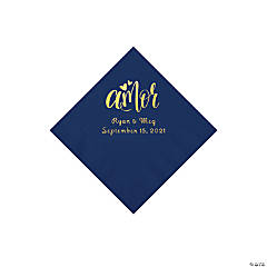 Navy Blue Amor Personalized Napkins with Gold Foil - Beverage