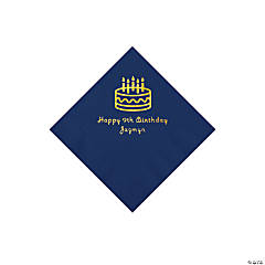 Navy Blue Birthday Cake Personalized Napkins with Gold Foil - Beverage