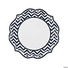 Navy Blue Chevron Scalloped Paper Dinner Plates