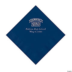 Navy Blue Class of 2020 Personalized Napkins with Silver Foil - Luncheon
