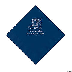 Navy Blue Cowboy Boots Personalized Napkins with Silver Foil - Luncheon