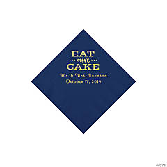 Navy Blue Eat Cake Personalized Napkins with Gold Foil - Beverage