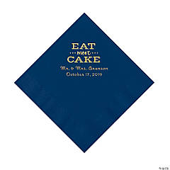 Navy Blue Eat Cake Personalized Napkins with Gold Foil - Luncheon