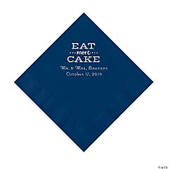 Navy Blue Eat Cake Personalized Napkins with Silver Foil - Luncheon