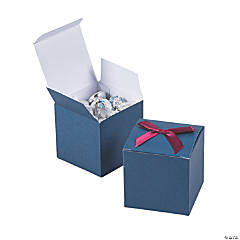 Navy Blue Favor Boxes with Burgundy Bow