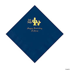 Navy Blue Fiesta Personalized Napkins with Gold Foil - Luncheon