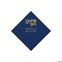 Navy Blue God Gave Me You Personalized Napkins with Gold Foil - Beverage