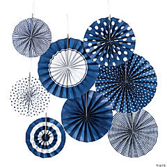 Navy Blue Hanging Paper Fan Assortment