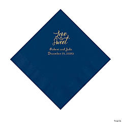 Navy Blue Love Is Sweet Personalized Napkins with Gold Foil – Luncheon