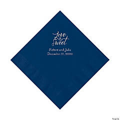 Navy Blue Love Is Sweet Personalized Napkins with Silver Foil – Luncheon