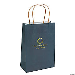 Navy Blue Medium Personalized Monogram Welcome Gift Bags with Gold Foil