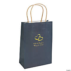 Navy Blue Medium Two Hearts Personalized Kraft Paper Gift Bags with Gold Foil