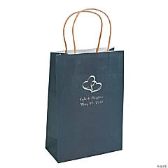 Navy Blue Medium Two Hearts Personalized Kraft Paper Gift Bags with Silver Foil