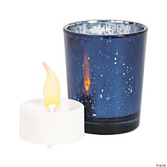 Navy Blue Mercury Glass Votive Candle Holders with Battery-Operated Candles