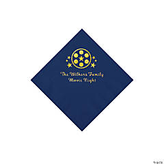 Navy Blue Movie Night Personalized Napkins with Gold Foil – Beverage