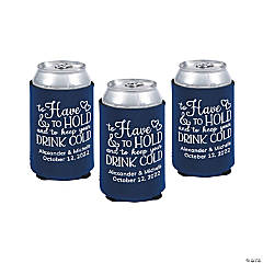 Navy Blue Personalized Premium to Have & to Hold Can Coolers