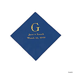 Navy Blue Wedding Monogram Personalized Napkins with Gold Foil - Beverage