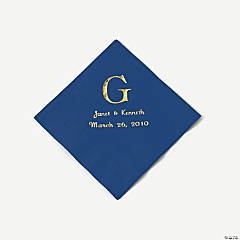 Navy Blue Wedding Monogram Personalized Napkins with Silver Foil - Beverage
