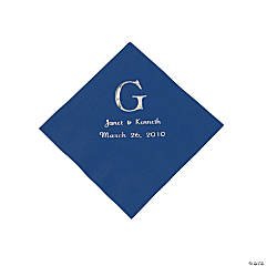 Navy Blue Wedding Monogram Personalized Napkins with Silver Foil - Luncheon