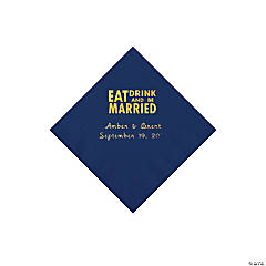 Navy Eat Drink & Be Married Personalized Napkins with Gold Foil - Beverage