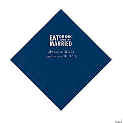 Navy Eat Drink & Be Married Personalized Napkins with Silver Foil - Luncheon