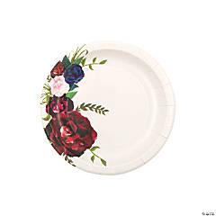 Navy Floral Paper Dessert Plates