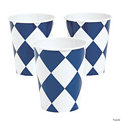 Navy Harlequin Print Paper Cups
