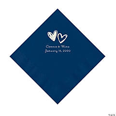 Navy Hearts Personalized Napkins with Silver Foil - Luncheon