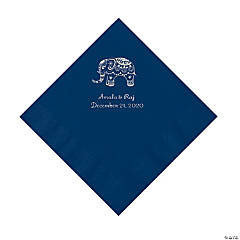 Navy Indian Wedding Personalized Napkins with Silver Foil - Luncheon
