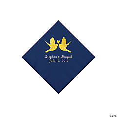 Navy Love Birds Personalized Napkins with Gold Foil - Beverage