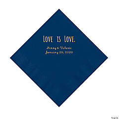 Navy Love is Love Personalized Napkins with Gold Foil - Luncheon