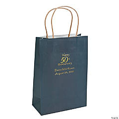 Navy Medium 50th Anniversary Personalized Kraft Paper Gift Bags with Gold Foil