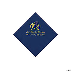Navy Miss to Mrs. Personalized Napkins with Gold Foil - Beverage