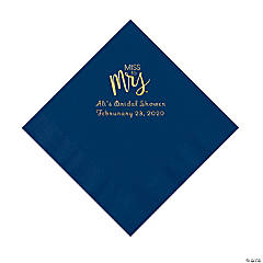 Navy Miss to Mrs. Personalized Napkins with Gold Foil - Luncheon