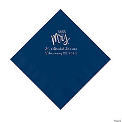 Navy Miss to Mrs. Personalized Napkins with Silver Foil - Luncheon