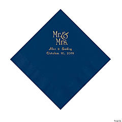 Navy Mr. & Mrs. Personalized Napkins with Gold Foil - Luncheon