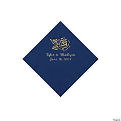 Navy Rose Personalized Napkins with Gold Foil - Beverage